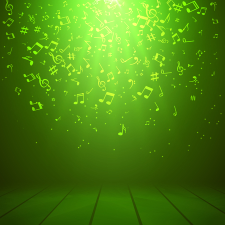 Vector abstract musical background with musical notes.