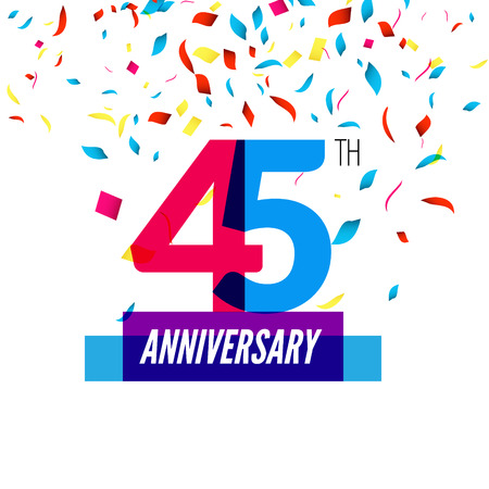 45th: Anniversary design. 45th icon anniversary. Colorful overlapping design with colorful confetti.