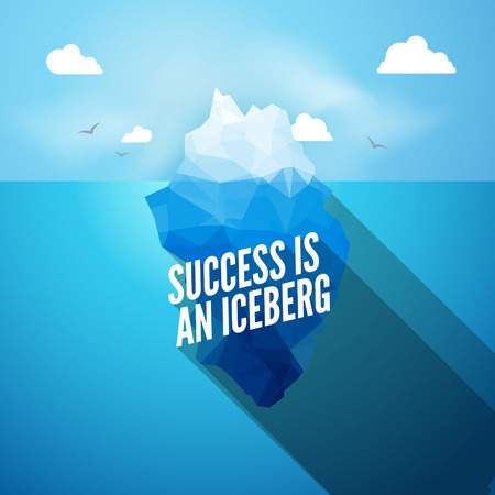 tip of the iceberg: Vector 3d iceberg illustration concept. Success quote, clean blue cold sea or ocean concept