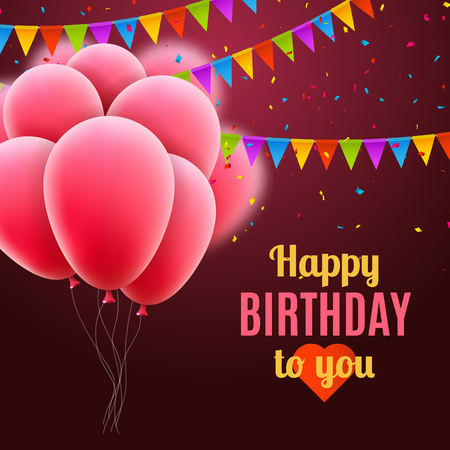 pink balloons: Vector happy birthday card with pink balloons and confetti, party invitation. Stock Photo