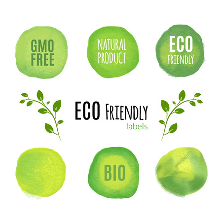 Eco friendly natural product watercolor labels. Organic fresh food product concept.
