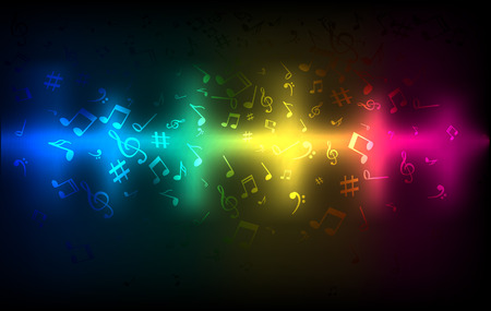 Abstract audio sound wave equalizer. Music sound concept colorful dark glowing template Illustration