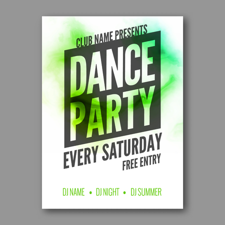 DAnce background: Dance Party Poster Template. Night Dance Party flyer. DJ session. Club party design template on dark colorful background. Dance party watercolor background