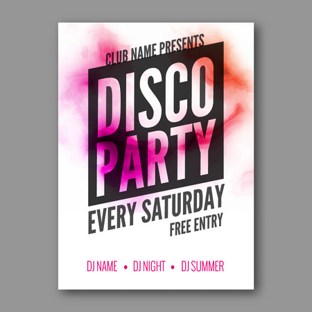 holiday vacation: Disco Party Poster Template. Night Dance Party flyer. DJ session. Club party design template on dark colorful background. Dance party watercolor background Illustration