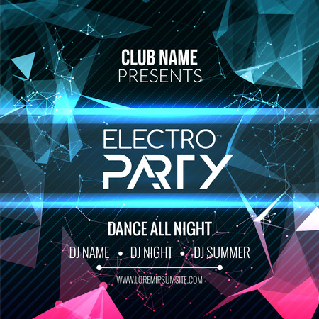 electro: Modern Electro Party Template, Dance Party Flyer, brochure. Night Party Club Banner Poster