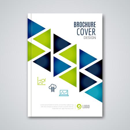 Cubierta informe volante colorido folleto triángulo geométrico del diseño del fondo, la revista volante cubierta, folleto composición de la plantilla de libro, ilustración vectorial.