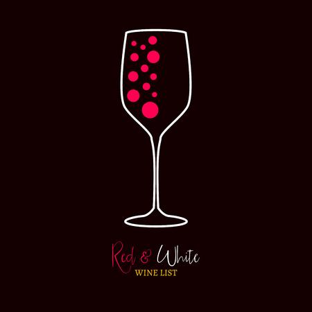 alimentos y bebidas: Carta de vinos diseño de la plantilla de menú de color rojo y blanco. Diseño del menú del vino.