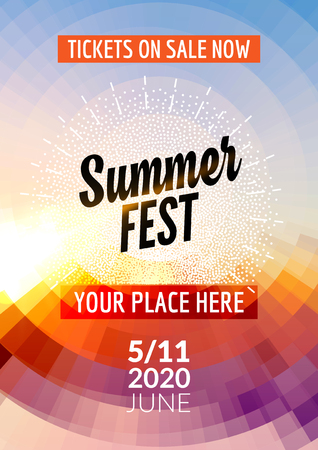 Summer festival flyer design template. Summer poster flyer template colorful design.