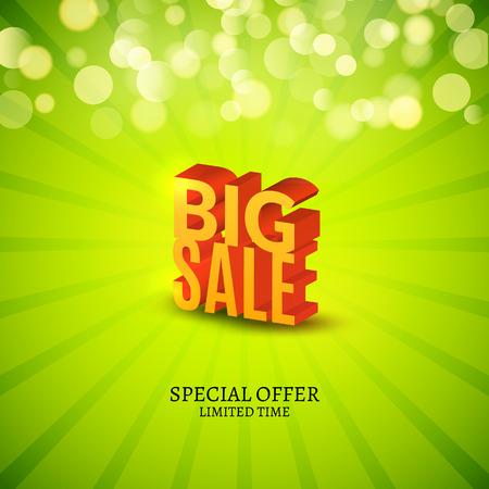 promotional: Big Sale 3d letters poster. Promotional marketing Sale poster.