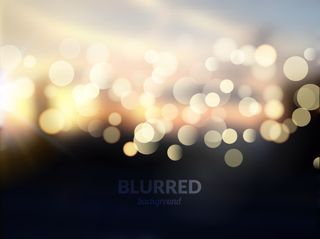 effect sunset: Blurred nature landscape with bokeh lights effect. Sunset background.