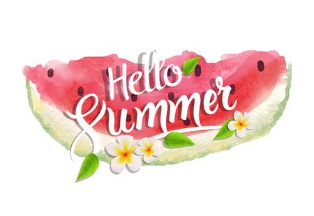 Hallo Sommer Schriftzug Typografie mit Aquarell Wassermelone. Vektorgrafik