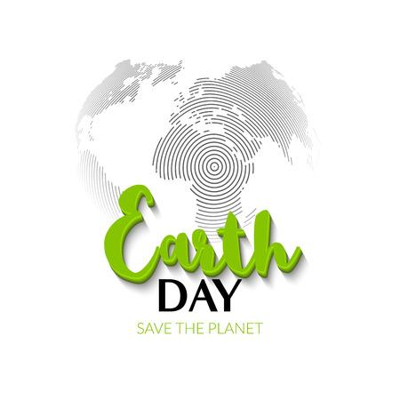 mapa conceptual: Día de la Tierra. signo Mundial de la Tierra el mapa del mundo. dibujado a mano día de cotización letras tierra. tarjeta de felicitación, carteles, diseño de páginas web. cartel de la tipografía para el día de la tierra. Vectores