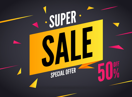 super market: Super Sale special offer. 50 off discount baner. Vector promotion market banner for Sale.