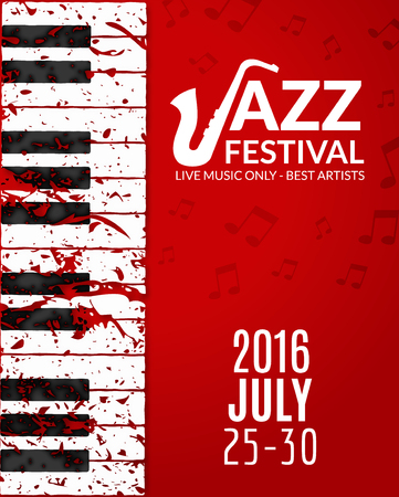 concert band: Jazz festival poster with a saxophone. Musical flyer design template.