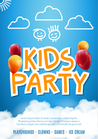 Kids party invitation design poster template. Kids fun celebration flyer.