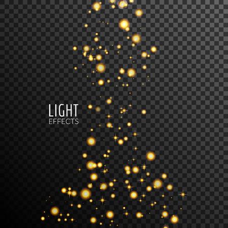Abstract sparkles on dark transparent background. Lights effects. Illustration