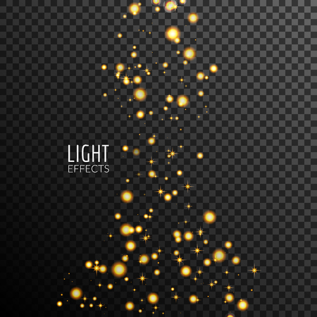 Abstract sparkles on dark transparent background. Lights effects. Vettoriali
