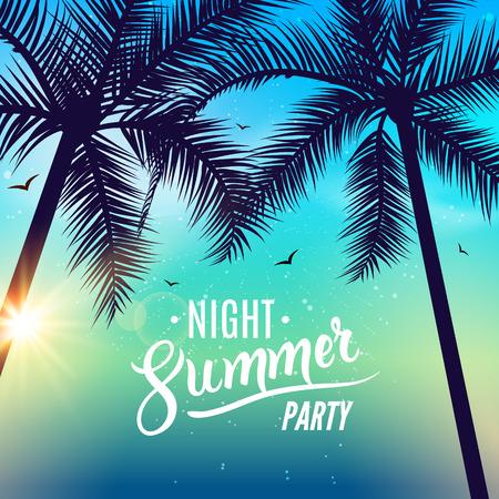 Summer night dance party. Beach summer night party poster. Travel vacation design flyer. Vector Illustration