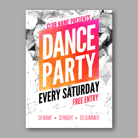 Dance Party Poster Template. Night Dance Party flyer. DJ session. Club party design template on dark colorful background. Dance party watercolor background