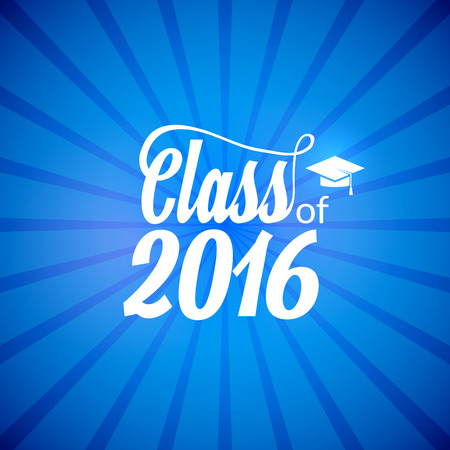 Hand drawn lettering typography Class of 2016. Graduation icon lable. Lettering for graduation design, congratulation party. High school or college graduate. Illustration