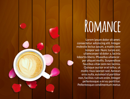 roses petals: Roses petals on wooden background with cup of coffee and copy space. Valentines day love concept.