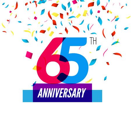 65th: Anniversary design. 65th icon anniversary. Colorful overlapping design with colorful confetti.