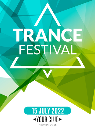 musical event: Club electronic trance festival music poster. Musical event DJ flyer. Disco trance sound. Night party. Illustration