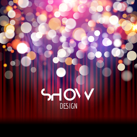 blur effect: Super show poster template with bokeh lights. Greeting, theater, concert, musical dance, presentation. Beautiful scene with curtains. Vector illustration.