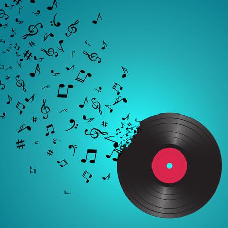 Abstracte muziek achtergrond met notities en vinyl. Muzikale achtergrond. Music Notes geïsoleerd. Music vinyl object. Stockfoto