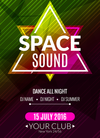event party: Club electronic space sound music poster. Musical event DJ flyer. Disco trance sound. Night party. Illustration