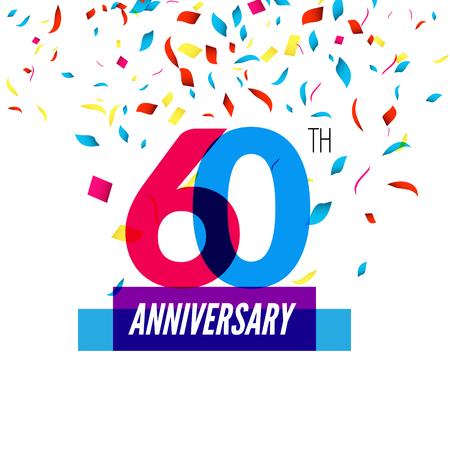 60th: Anniversary design. 60th icon anniversary. Colorful overlapping design with colorful confetti.