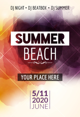 event party: Summer beach party flyer template design. Summer party design layout event.