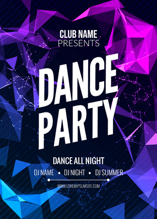Modern Club Music Party Template, Dance Party Flyer, brochure. Night Party Club sound Banner Poster Archivio Fotografico