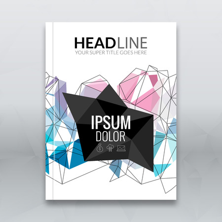 booklet design: Cover report colorful triangle geometric lines prospectus design background, cover flyer magazine, brochure book cover template layout, vector illustration. Illustration
