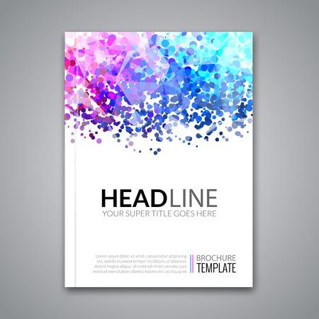 Business report design, flyer template, background with colorful dots. Brochure Cover template mockup layout, vector illustration. Vektoros illusztráció