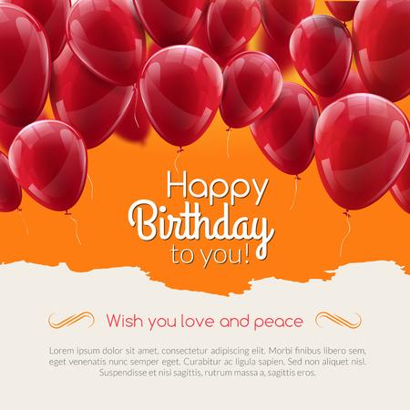 Vector gelukkige verjaardagskaart met rode ballonnen, partij uitnodiging