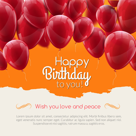 Vector happy birthday card with red balloons, party invitation