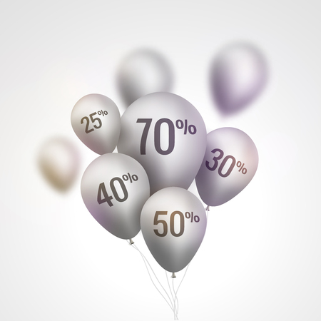 baloon: Silver Baloons Discount. SALE concept for shop market store advertisement commerce. Market discount, baloon, sale balloons. Vector business concept