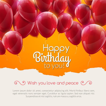 event party festive: Vector happy birthday card with red balloons, party invitation