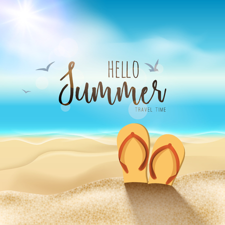 sand beach: Summer beach travel design. Sum with sand and sandals. Illustration