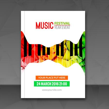 Festival musicale sfondo poster. volantino modello. Pianoforte jazz music volantino caffè disegno promozionale.