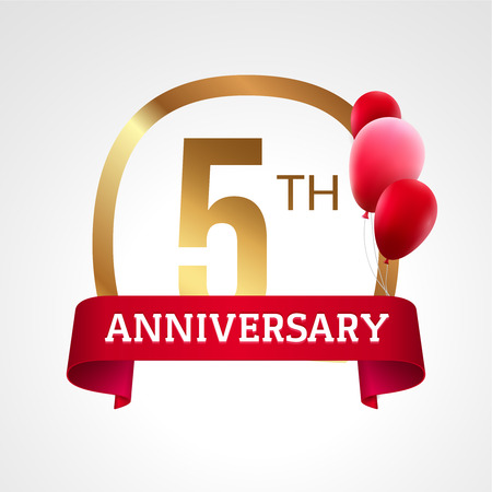 5th: Celebrating 5th years anniversary golden label with ribbon and balloons, vector template.