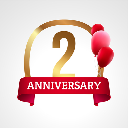 2 years: Celebrating 2 years anniversary golden label with ribbon and balloons, vector template. Illustration