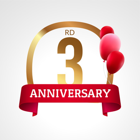 3rd: Celebrating 3rd years anniversary golden label with ribbon and balloons, vector template. Illustration