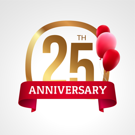 25th: Celebrating 25th years anniversary golden label with ribbon and balloons, vector template.