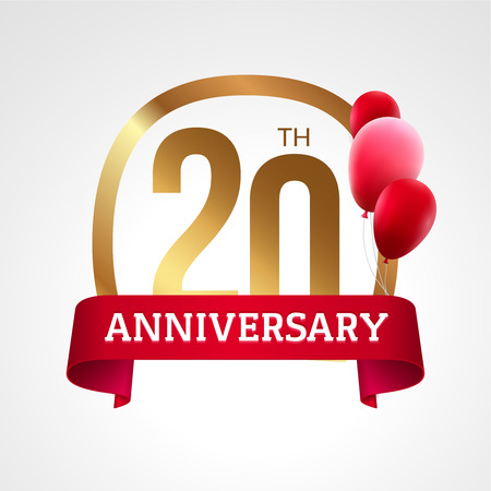 20th: Celebrating 20th years anniversary golden label with ribbon and balloons, vector template. Illustration