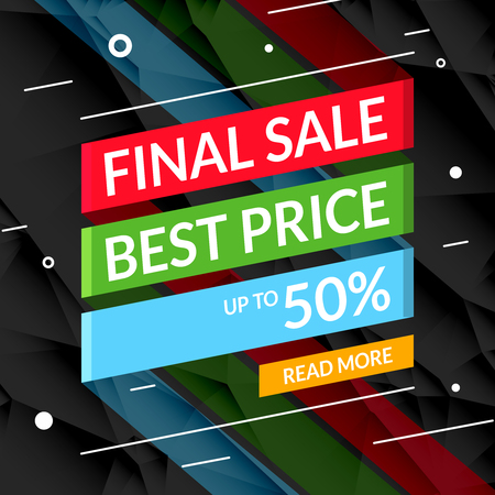 super market: Super Sale poster on ribbon. Sale promotional background poster for store shop market Stock Photo