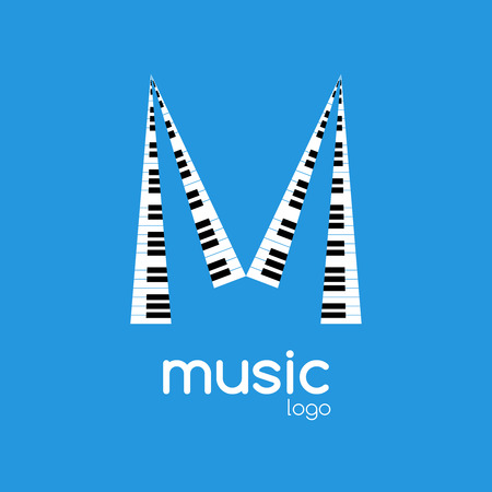 logo music: Vector minimalistic music piano logo. Music trendy symbol.