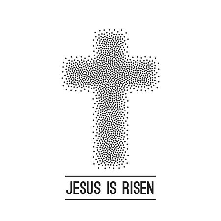 he is a traditional: Easter background. He is risen. Halftone dots on dark Vector.