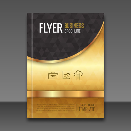 Golden background flyer template. Luxury brochure, book cover mockup design. Vector elements.
